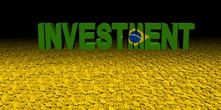 Investment text with Brazilian flag on coins illustration. Investment text with Brazilian flag on coins and black background 3d illustration Stock Photography