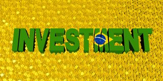 Investment text with Brazilian flag on coins illustration. Investment text with Brazilian flag on numerous coins 3d illustration Stock Photo