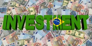 Investment text with Brazilian flag on currency illustration. Investment text with Brazilian flag on currency 3d illustration Stock Image