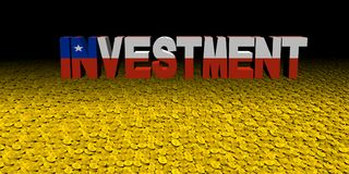 Investment text with Chilean flag on coins illustration. Investment text with Chilean flag on numerous coins 3d illustration Royalty Free Stock Image