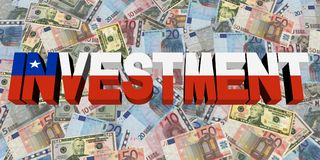 Investment text with Chilean flag on currency illustration. Investment text with Chilean flag on Currency dollars and euros illustration Stock Photos