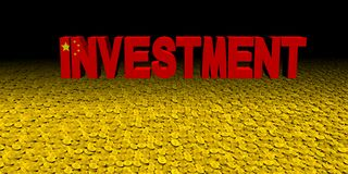 Investment text with Chinese flag on coins illustration. Investment text with Chinese flag on coins and black background 3d illustration Stock Photo