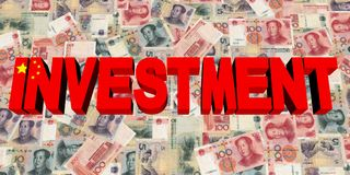 Investment text with Chinese flag on currency illustration. Investment text with Chinese flag on currency 3d illustration Royalty Free Stock Images
