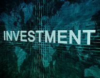 Investment. Text concept on green digital world map background Royalty Free Stock Photos