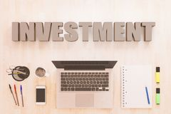 Investment text concept. Investment - text concept with notebook computer, smartphone, notebook and pens on wooden desktop. 3D render illustration Stock Photo