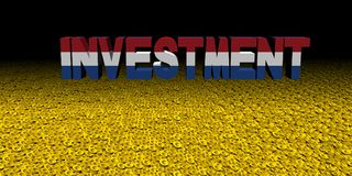 Investment text with Dutch flag on coins illustration. Investment text with Dutch flag on numerous coins illustration Royalty Free Stock Images