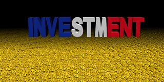 Investment text with French flag on coins illustration. Investment text with French flag on coins and black background 3d illustration Stock Photos
