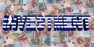 Investment text with Greek flag on Euros illustration. Investment text with Greek flag on Euros 3d abstract illustration Royalty Free Stock Photos