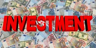 Investment text with Hong Kong flag on currency illustration. Investment text with Hong Kong flag on currency 3d illustration Stock Image