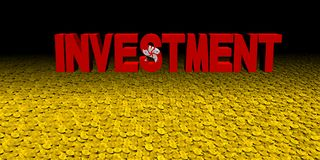 Investment text with Hong Kong flag on coins illustration. Investment text with Hong Kong flag on numerous coins 3d illustration Royalty Free Stock Images