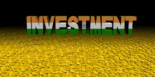 Investment text with Indian flag on coins illustration. Investment text with Indian flag on coins and black background 3d illustration Royalty Free Stock Photography