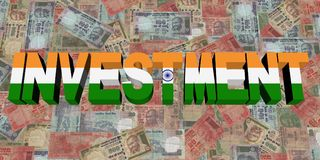 Investment text with Indian flag on currency illustration. Investment text with Indian flag on currency rupees 3d illustration Royalty Free Stock Images