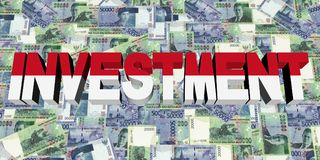 Investment text with Indonesian flag on currency illustration. Investment text with Indonesian flag on rupiah currency 3d illustration Stock Photos