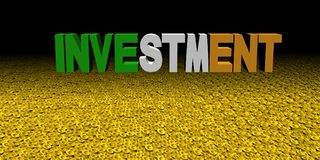Investment text with Irish flag on coins illustration. Investment text with Irish flag on coins and black background 3d illustration Royalty Free Stock Images