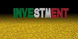 Investment text with Italian flag on coins illustration. Investment text with Italian flag on coins and black background 3d illustration Vector Illustration
