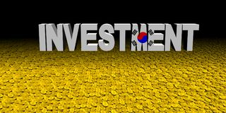 Investment text with Korean flag with coins illustration. Investment text with Korean flag on numerous coins 3d illustration Royalty Free Stock Photo