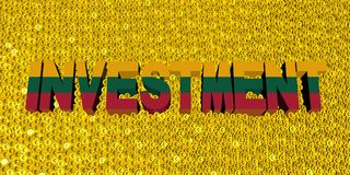 Investment text with Lithuanian flag on coins illustration. Investment text with Lithuanian flag on numerous coins 3d illustration Stock Photography