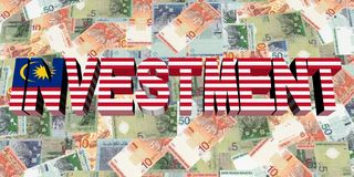 Investment text with Malaysian flag on currency illustration. Investment text with Malaysian flag on Ringgit currency 3d illustration Royalty Free Stock Photo