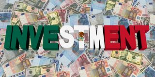 Investment text with Mexican flag on currency illustration. Investment text with Mexican flag on currency dollars and euros illustration Royalty Free Stock Photography