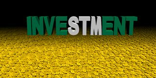 Investment text with Nigerian flag with coins illustration. Investment text with Nigerian flag with coins on numerous coins 3d illustration Stock Photo