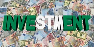 Investment text with Nigerian flag on currency illustration. Investment text with Nigerian flag on Stock Images