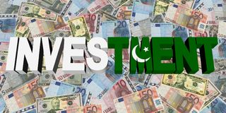 Investment text with Pakistani flag on currency illustration. Investment text with Pakistani flag on currency dollars and euros illustration Royalty Free Stock Image