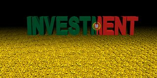 Investment text with Portuguese flag on coins illustration. Investment text with Portuguese flag on coins 3d illustration Royalty Free Stock Images