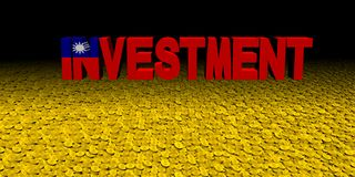 Investment text with Taiwanese flag on coins illustration. Investment text with Taiwanese flag on coins and black background 3d illustration Royalty Free Stock Images
