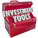Investment Tools 3d Words Toolbox Finance Adviser Resources. Investment Tools words in 3d letters in a red metal toolbox to illustrate financial advice and Royalty Free Stock Image