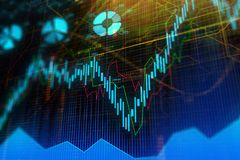 Investment, trade, finance and economy concept. Abstract forex chart background. Investment, trade, finance and economy concept. 3D Rendering Royalty Free Stock Photography