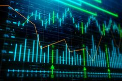 Investment, trade and growth concept. Creative glowing forex chart background. 3D Rendering Royalty Free Stock Photography