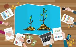 Investment tree team discuss invest investment business on top of wood wooden table with graph and chart vector illustration
