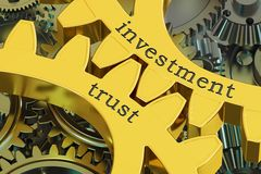 Investment trust concept on the gearwheels, 3D rendering. Investment trust concept on the gearwheels, 3D Stock Photo