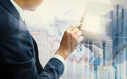 The investment in the stock market. The investment of two traders in the stock market Stock Photo