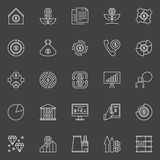 Investment vector icons. Minimal investing and money concept symbols on dark background Stock Image