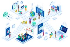 Investments and virtual finance contemporary marketing. Investment and virtual finance. Communication and contemporary marketing. Future and office devices stock illustration