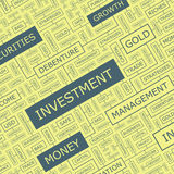 INVESTMENT. Word cloud illustration. Tag cloud concept collage. Usable for different business design Stock Photo