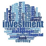 Investment word cloud. Concept on white background, 3d rendering Royalty Free Stock Photo
