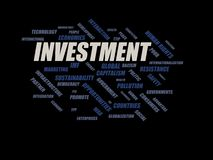 Investment - word cloud wordcloud - terms from the globalization, economy and policy environment Stock Photo