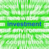 Investment Word Means Lending And Investing For Return Stock Image