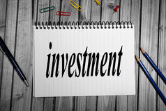 Investment word Royalty Free Stock Photo