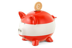 Investments in Austria. Piggy bank with flag and golden euro coi Royalty Free Stock Image
