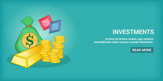 Investments banner horizontal, cartoon style Stock Images