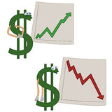 Investments. Cartoon dollar presenting investments restults Royalty Free Stock Image