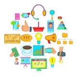 Investments in company icons set, cartoon style. Investments in company icons set. Cartoon set of 25 investments in company vector icons for web isolated on Royalty Free Stock Images