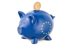 Investments in the European Union. Piggy bank with flag and gold Royalty Free Stock Photo