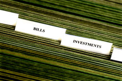 Investments Filing Tabs Royalty Free Stock Photos
