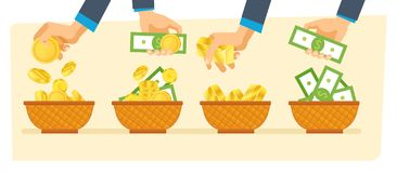 Investments, financial success. Hands hold money bills and gold coins. Stock Photos