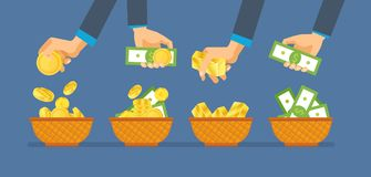 Investments, financial success. Hands hold money bills and gold coins. Stock Photography