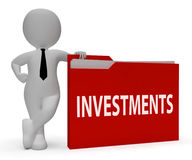 Investments Folder Means Roi Portfolio And Files 3d Rendering Royalty Free Stock Photos
